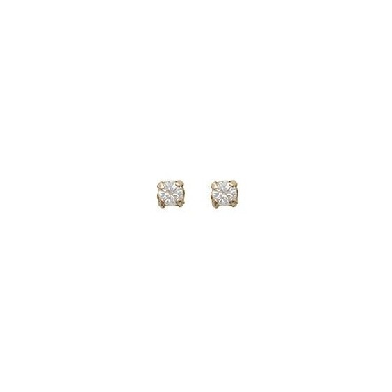 Boucles d'oreilles cristal blanc 3 mm plaqué or - La Petite Française