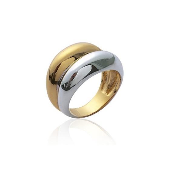 Double anneau bicolore plaqué or - La Petite Française