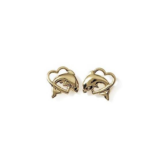 Boucles d'oreilles dauphin coeur plaqué or - La Petite Française