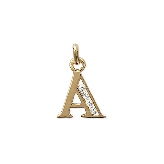 Pendentif lettre A et zirconiums plaqué or - La Petite Française