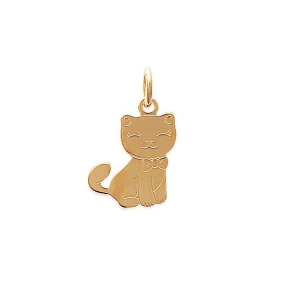 Pendentif chat avec un noeud plaqué or - La Petite Française