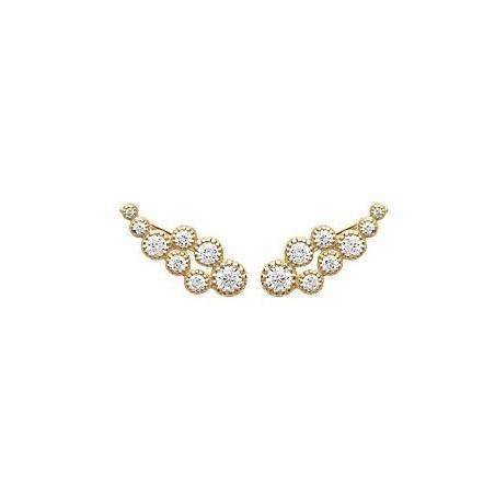 Contours d'oreilles bulles plaqué or et zirconiums - La Petite Française