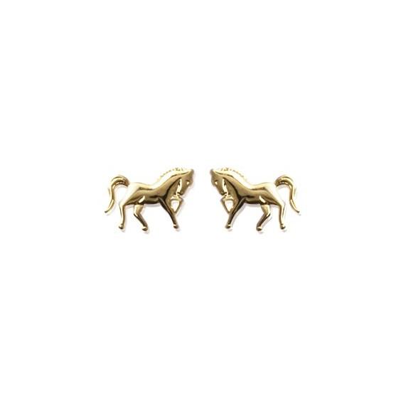 Boucles d'oreilles cheval plaqué or - La Petite Française