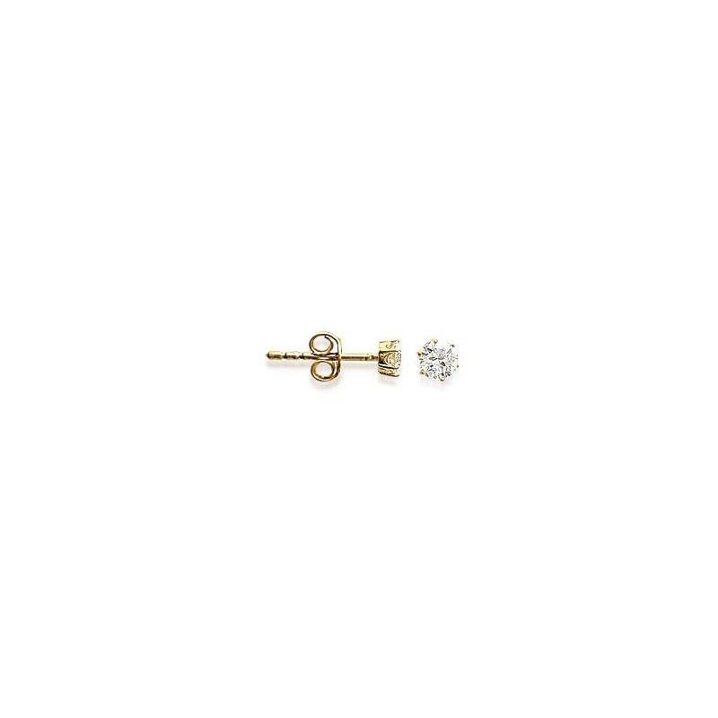 Boucles d'oreilles zirconium rond 4 mm - 6 griffes  plaqué or - La Petite Française