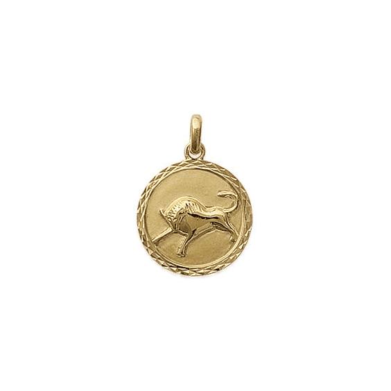 Pendentif taureau rond ciselé plaqué or - La Petite Française
