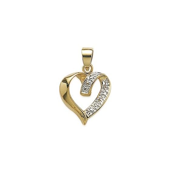 Pendentif coeur plaqué or et zirconiums - La Petite Française