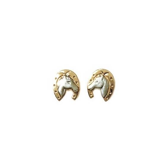 Boucles d'oreilles tête et fer de cheval plaqué or bicolore - La Petite Française