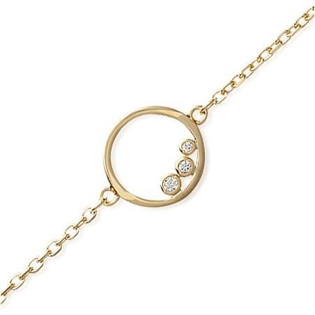 Bracelet anneau 3 zirconiums plaqué or - La Petite Française