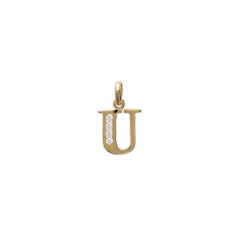 Pendentif lettre U et zirconiums plaqué or - La Petite Française