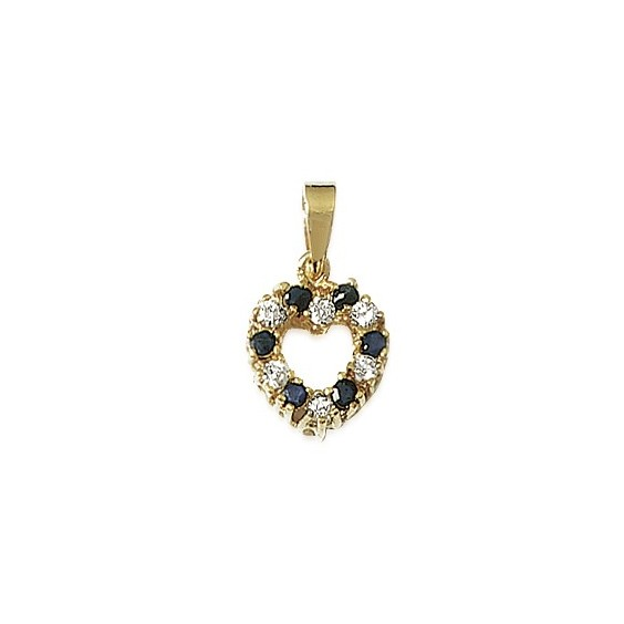 Pendentif coeur plaqué or, saphir et zirconiums - La Petite Française