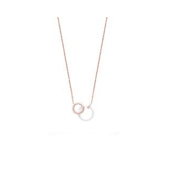 Collier 2 anneaux céramique blanche plaqué or rose - La Petite Française
