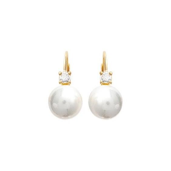 Boucles d'oreilles Vaihi perle plaqué or et zirconiums - La Petite Française