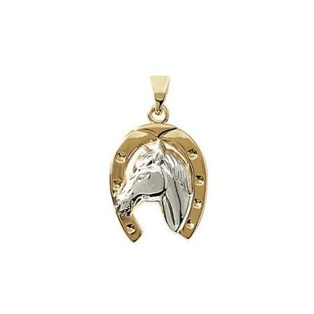 Pendentif fer et tête de cheval plaqué or bicolore - La Petite Française