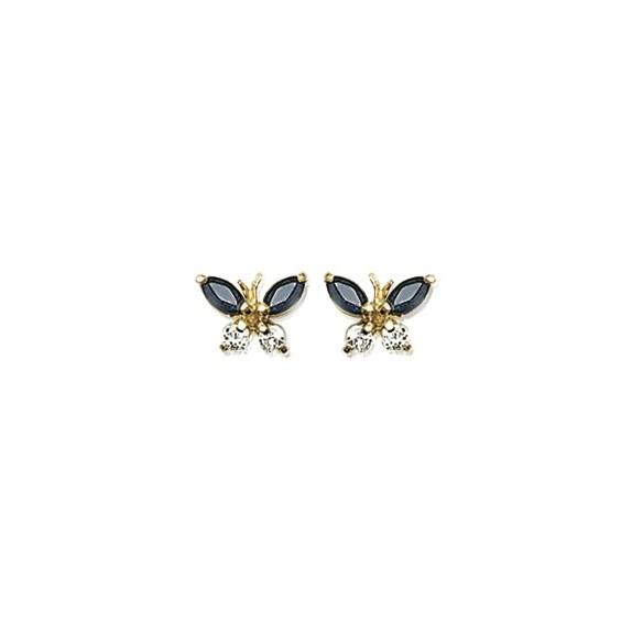 Boucles d'oreilles papillons bleus et blancs plaqué or - La Petite Française