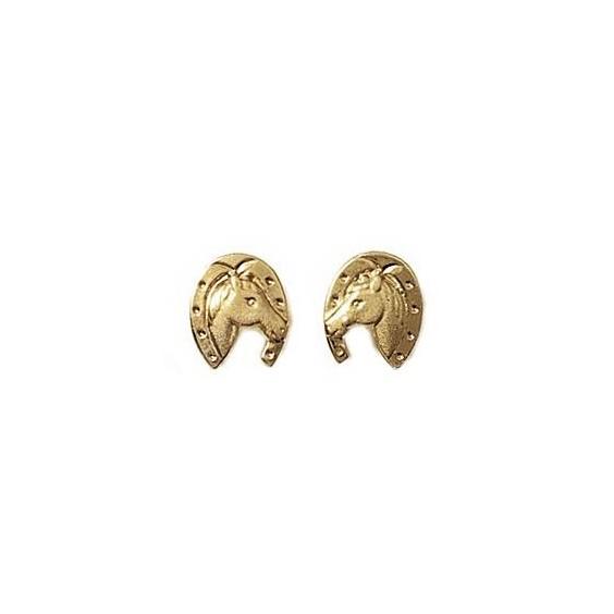 Boucles d'oreilles tête et fer de cheval plaqué or - La Petite Française