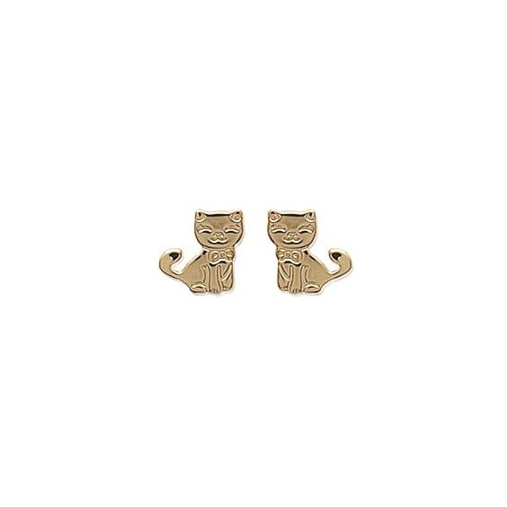 Boucles d'oreilles chat et un noeud plaqué or - La Petite Française