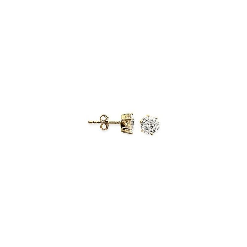 Boucles d'oreilles zirconium rond 8 mm - 6 griffes plaqué or - La Petite Française