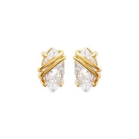 Boucles d'oreilles solitaire ovale plaqué or et zirconium - La Petite Française