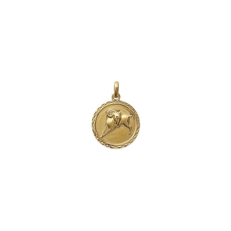 Pendentif bélier rond ciselé en plaqué or - La Petite Française