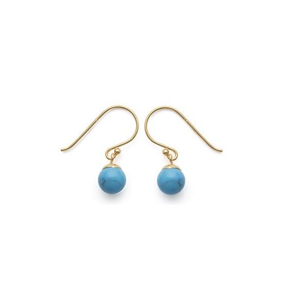 Boucles d'oreilles boule turquoise plaqué or - La Petite Française