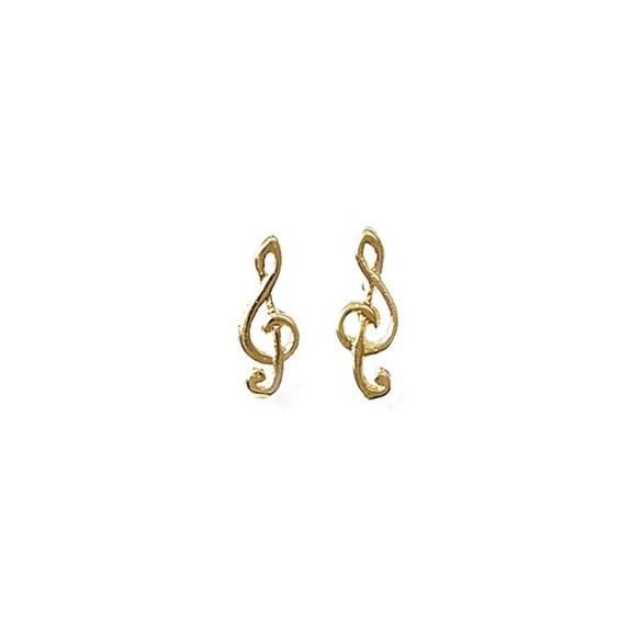 Boucles d'oreilles clef de sol plaqué or - La Petite Française