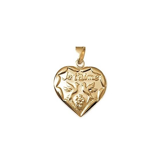 """Pendentif coeur """"je t'aime"""" et 2 colombes plaqué or - La Petite Française"""