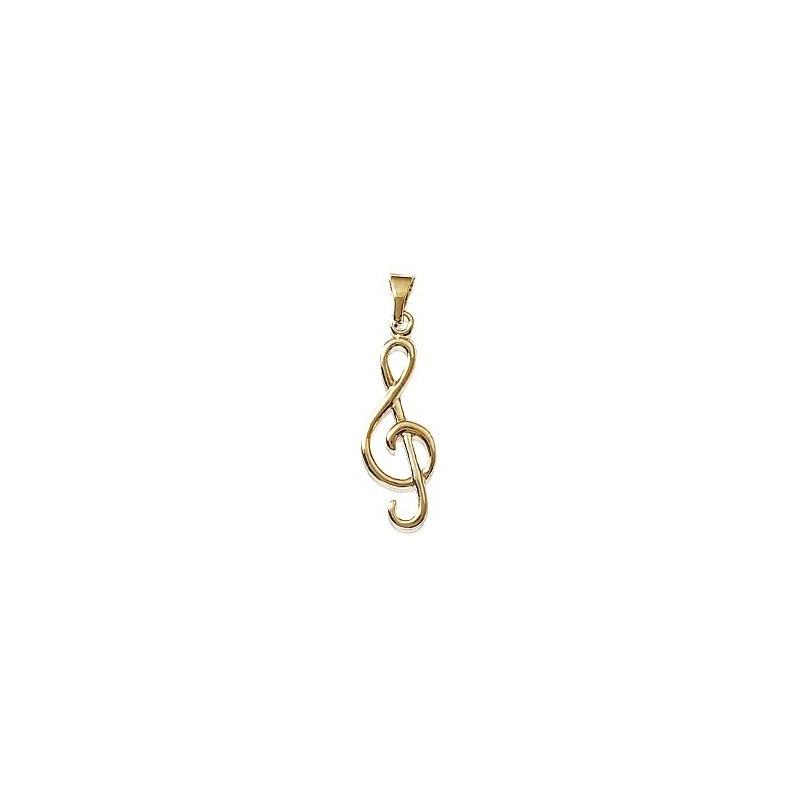 Pendentif clef de sol plaqué or - La Petite Française