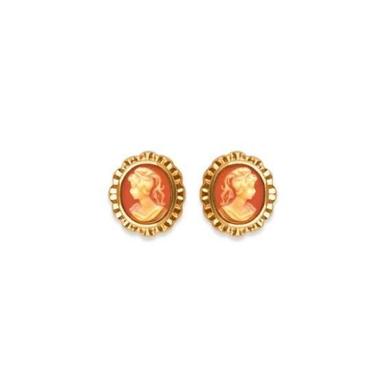 Boucles d'oreilles camées corails ovale frou-frou plaqué or - La Petite Française