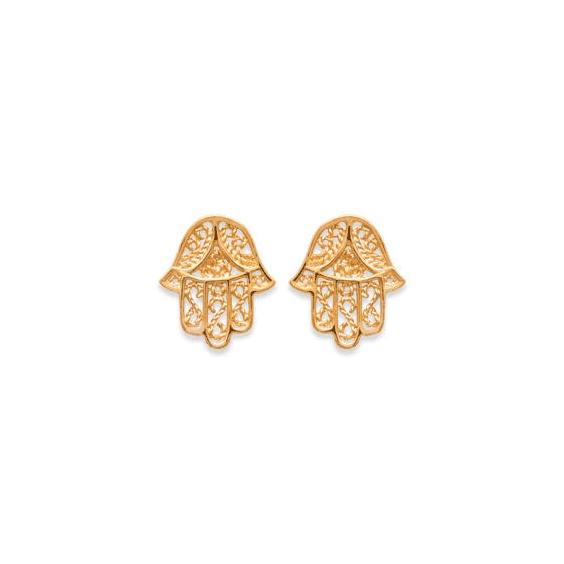 Boucles d'oreilles main protectrice MM plaqué or - La Petite Française