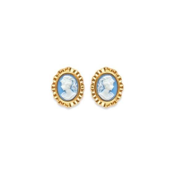 Boucles d'oreilles camées bleus ovale frou-frou plaqué or - La Petite Française