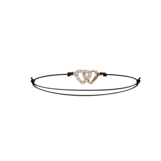 Bracelet duo coeur plaqué or - La Petite Française