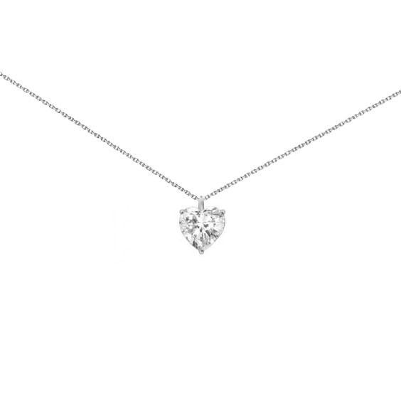 Collier coeur en Or 18 carats gris et diamant - GSI1 - La Petite Française
