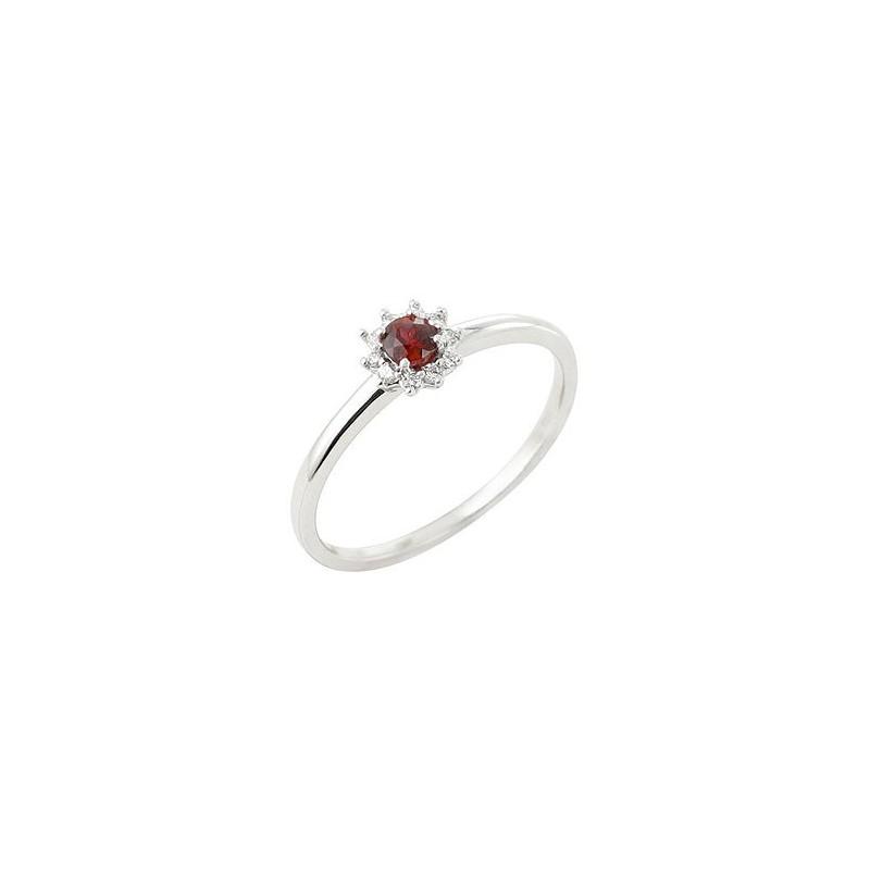 Bague fleur rubis Or 18 carats gris - La Petite Française