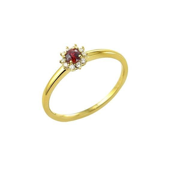 Bague fleur rubis Or 18 carats jaune - La Petite Française