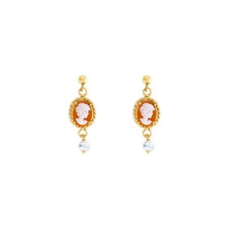 Boucles d'oreilles Hortense camées et perle Or 18 carats jaune - La Petite Française