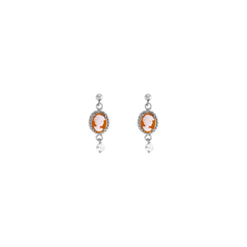 Boucles d'oreilles Hortense camées et perle Or 18 carats gris - La Petite Française