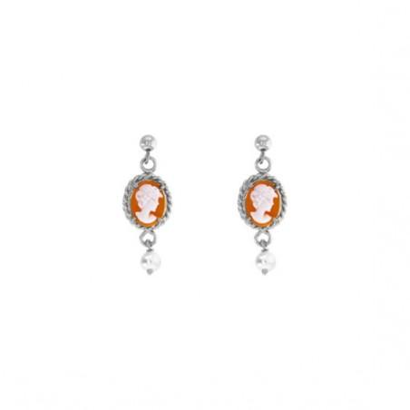 Boucles d'oreilles Hortense camées et perle Or 9 carats gris - La Petite Française