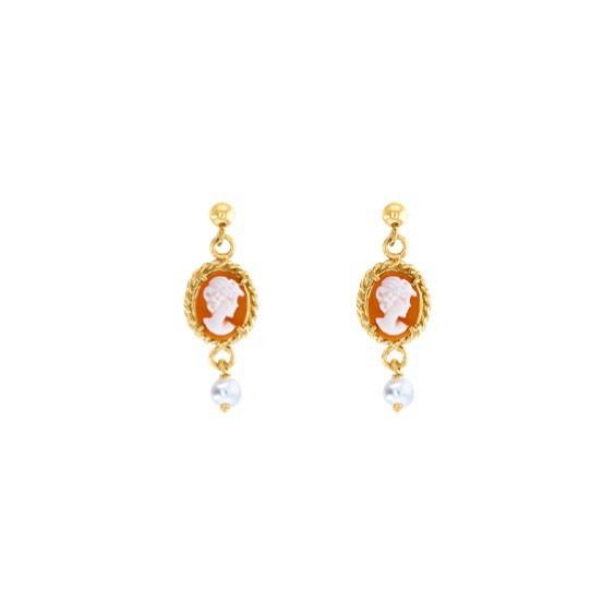 Boucles d'oreilles Hortense camées et perle Or 9 carats jaune - La Petite Française