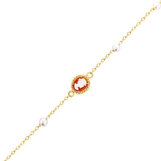 Bracelet Hortense camées et perle Or 9 carats jaune - La Petite Française