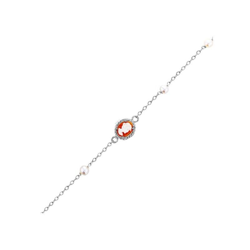 Bracelet Hortense camées et perle Or 9 carats gris - La Petite Française