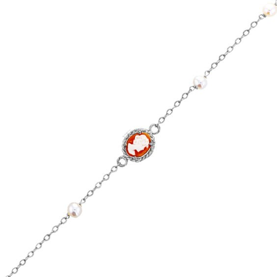Bracelet Hortense camées et perle Or 18 carats gris - La Petite Française