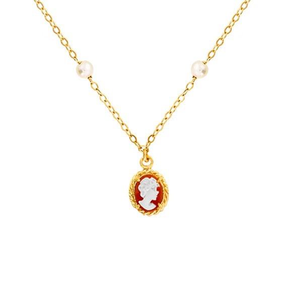 Collier Hortense camées et perle Or 9 carats jaune - La Petite Française