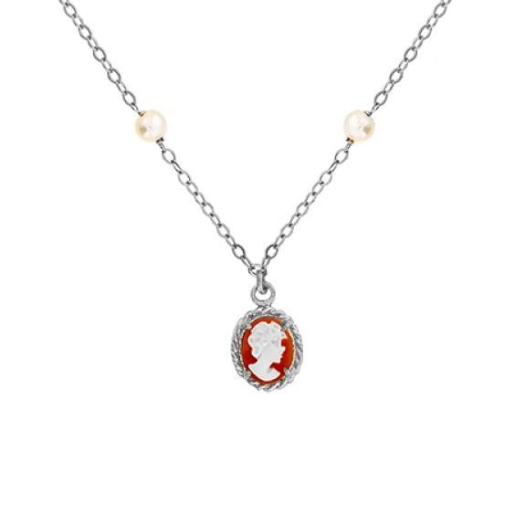 Collier Hortense camées et perle Or 18 carats gris - La Petite Française