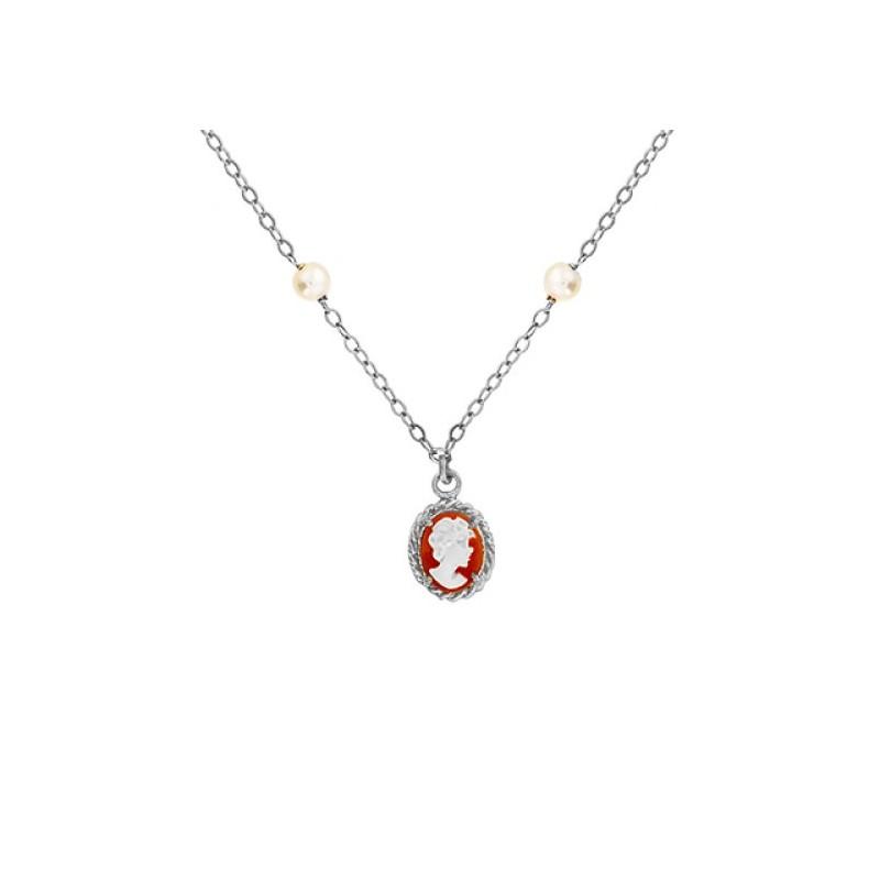 Collier Hortense camées et perle Or 9 carats gris - La Petite Française
