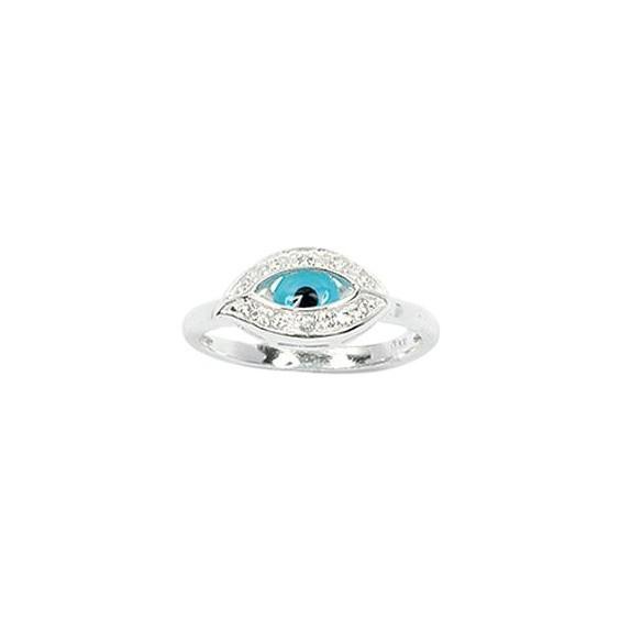 Bague Oeil bleu argent - La Petite Française