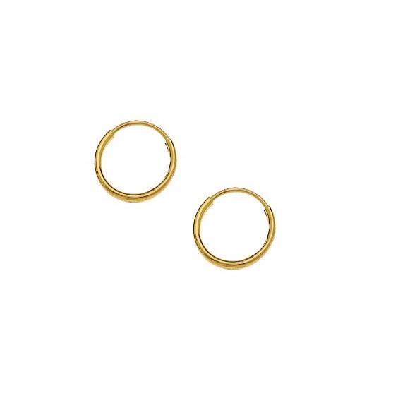 Créoles fil 1mm Or 9 carats jaune - 10  mm - La Petite Française