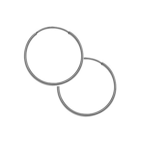 Créoles fil 1mm Or 9 carats gris - 14  mm - La Petite Française