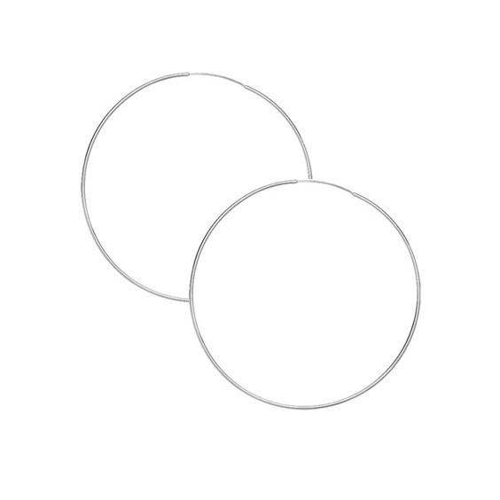 Créoles fil 1mm Or 9 carats gris - 70  mm - La Petite Française