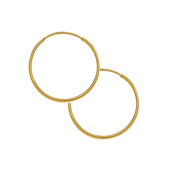 Créoles fil 1mm Or 9 carats jaune - 30  mm - La Petite Française