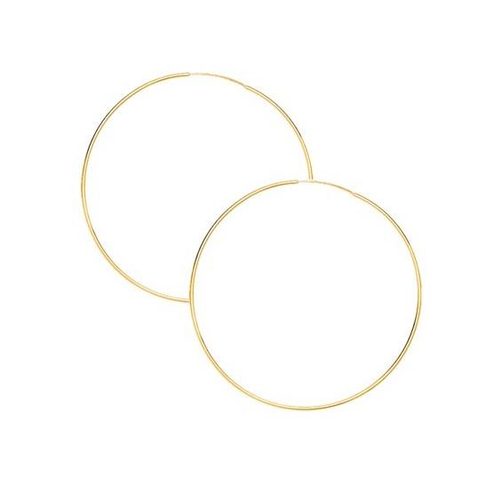 Créoles fil 1mm Or 9 carats jaune - 70  mm - La Petite Française